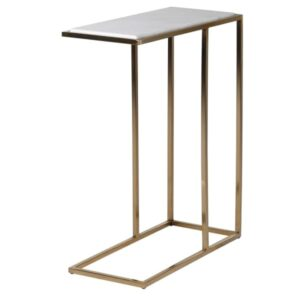 Gold and white marble side table
