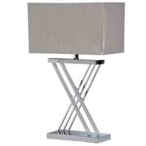 Chrome X base lamp with silver rectangular shade