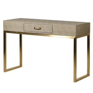 faux shagreen and gold console table