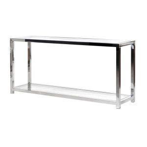 Chrome and glass hall table