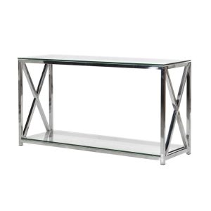 Stainless steel and glass X console table