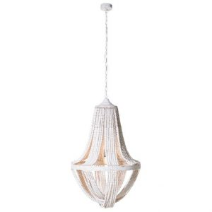 White wash wooden bead ceiling light