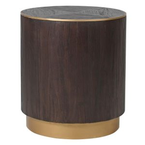 Dark wood and copper round side table