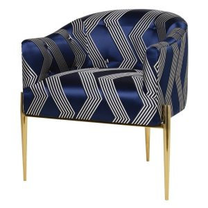 Blue and gold occasional chair