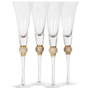 Gold diamanté ball crystal champagne flutes (set of 4)