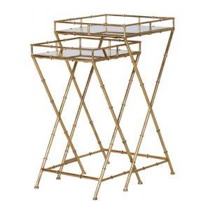 Gold bamboo framed side tables (set of 2)