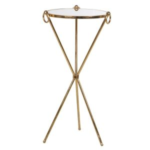 Mirror top side table with gold tripod frame