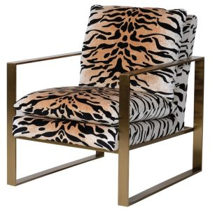 Gold and leopard print velvet occasional chair