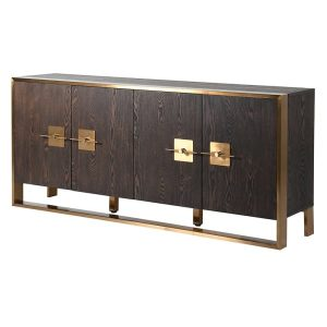 Dark wood and brushed gold sideboard