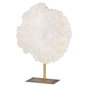 Large white faux coral on stand
