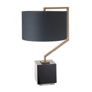 Brass square table lamp with shade