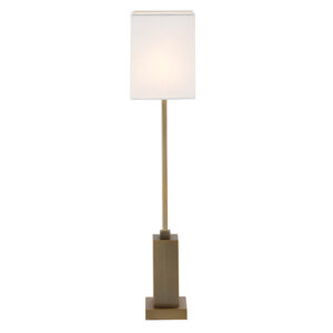 Tall antique brass table lamp with shade