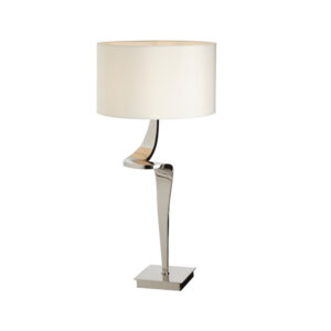 Nickle twist design table lamp with shade