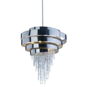 Smoked effect nickel and crystal chandelier